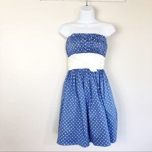 Betsey Johnson Strapless Polka Dot Blue Size 2